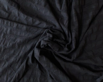 Black Stripe Knit Fabric, 100% Cotton, by the 1/2 yard