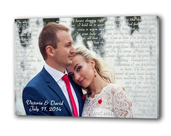 Wedding Anniversary Special Gift Personalized Picture with Vows, Lyrics, Love Story, Wedding Song. Custom Gallery Wrapped Canvas Print.