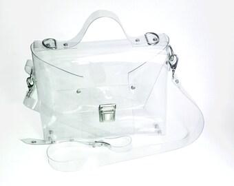 Crossbody minimalist bag Clear See Through Plastic PVC Vinyl Transparent Bag,Crossbody Bag,Messenger Bag,Shoulder Bag TSA NFL Security ooak