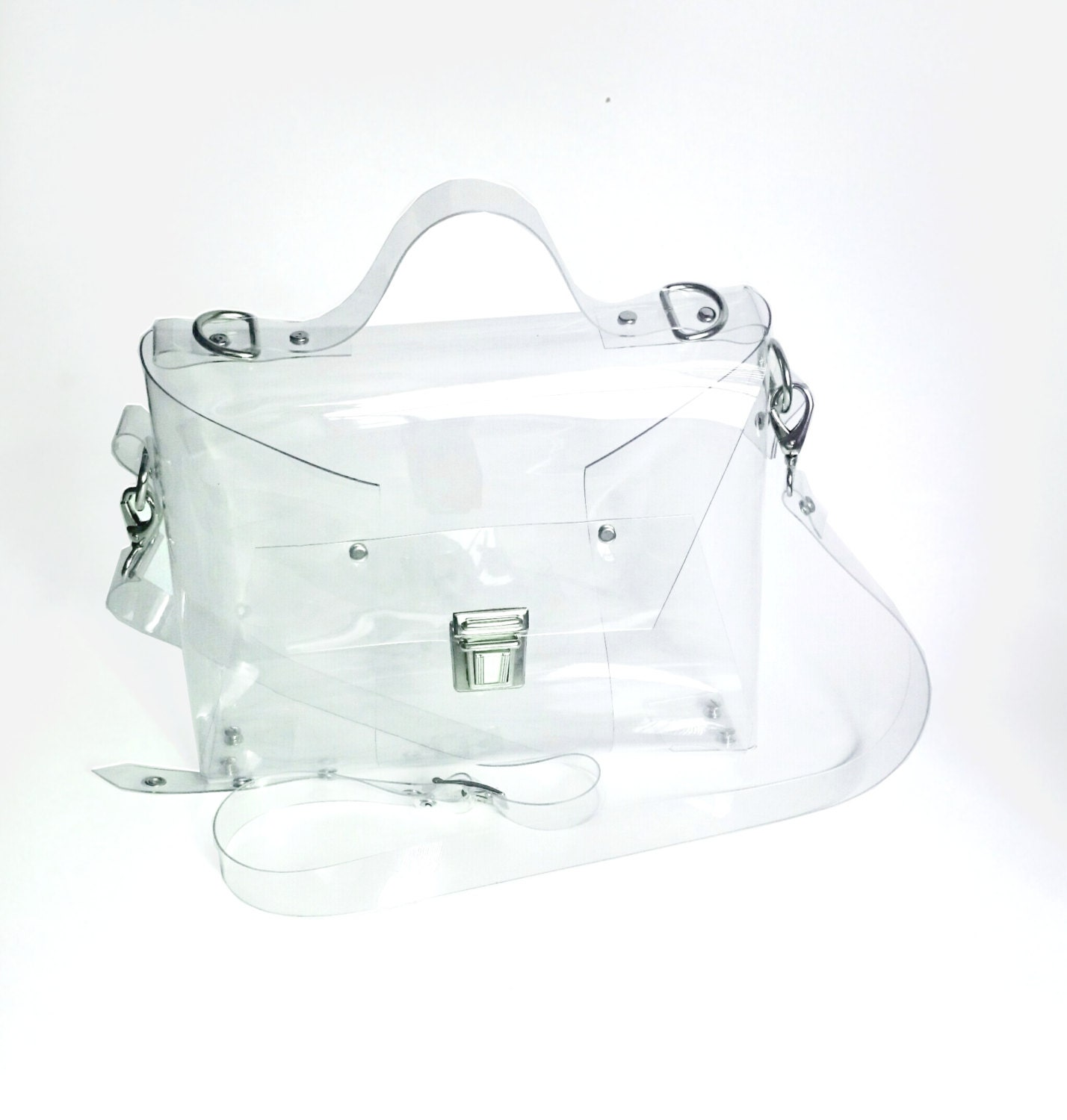 Crossbody minimalist bag Clear See Through Plastic PVC Vinyl