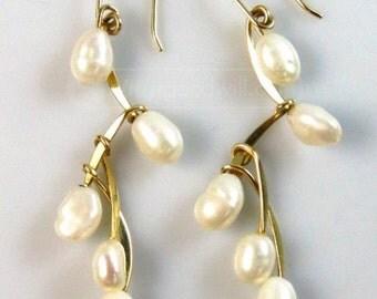 14K Solid Gold & Genuine Pearl Earrings, Chandelier Gold and Pearl Drop Earrings, Beautiful Vintage
