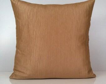 Goldish Tan Pillow, Throw Pillow Cover, Decorative Pillow Cover, Cushion Cover, Accent Pillow, Silk Pillow, Home Decor, Textured Pillow