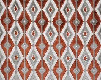 DESIGNER BLAINE SOUTHWEST Ikat Kilim Cut Velvet Fabric 10 Yards Burgundy Taupe
