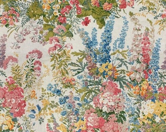 LEE JOFA KRAVET Exclusive Hand Block Garden Glories Floral Linen Fabric 10 Yards Multi
