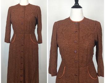 Vintage 40s dress / VOLUP dress / 1940s dress / Travelcraft / Plus size dress / pinup dress / Wiggle dress / day dress / full skirt / M1240