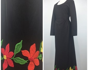 Vintage 70s dress / 1970s dress / Leslie Fay / Chocolate brown / Floral dress / Maxi dress / Embroidered dress / hippie dress / M1045