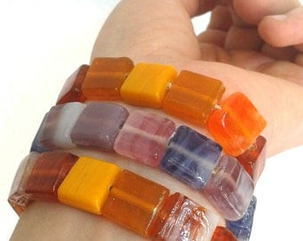 Elastic bracelet from stacking with coloured squares, boho, gypsy, hippie