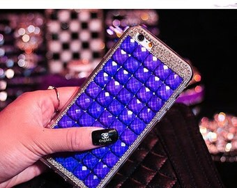 iPhone 4 4S 6 6S Plus Luxury Blue Bling Rhinestone Hard Handcrafted 3D Cover, iphone 6 case,iphone 6 plus case, bling iphone 4s case