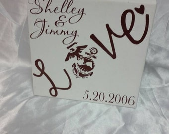 USMC love canvas~personalized~Marines~USMC wife~
