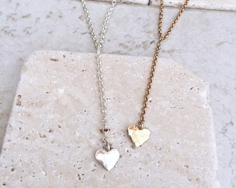 Silver heart necklace, Silver jewelry, Delicate necklace, Gift for her, Bridesmaids gift, Personalized necklace