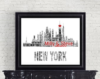 Personalised Word Art - New York City Skyline Design - Digital File