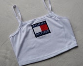 Reworked Tommy Hilfiger Crop Top/ Bandeau Style Top in White (size small)