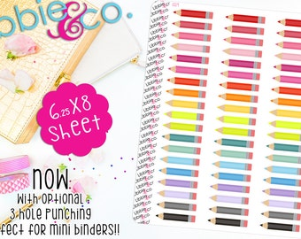 LS19 Colored Pencil Stickers!  Pencil Stickers! Perfect for the Erin Condren Planners!