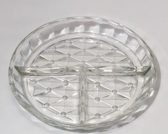 Vintage Clear Glass Diamond and Polka Dot Relish Tray