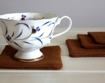 Drink Coasters // Set of 4 // Bronze // Fabric Coasters // Handmade
