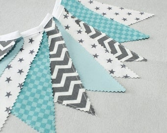 Bunting Flags, Fabric Garland, Chevron Bunting Flags, Mint ,Teal, Grey, Mint Party Banner, Nursery Decor, Baby Shower, Nursery Bunting