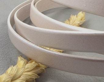 Ivory metallic flat leather high quality 10mm by 20cm