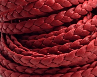 Red flat leather braid 0,4 inches by 7,9 inches