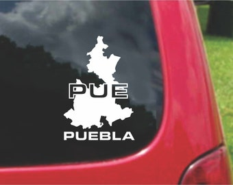2 Pieces Puebla Mexico Outline Map  Stickers Decals 20 Colors To Choose From.  U.S.A Free Shipping
