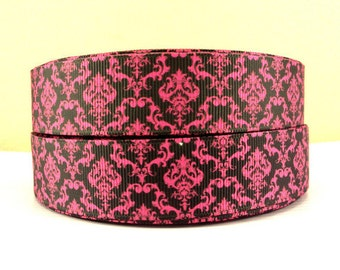 1 inch Hot Pink Damask - HOT PINK / Black   -  Printed Grosgrain Ribbon for Hair Bow