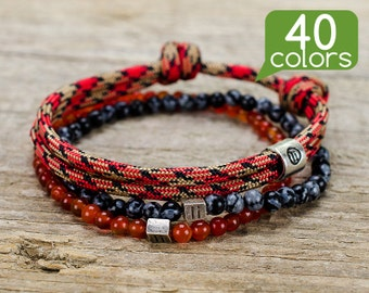 Mens nautical jewelry - Mens nautical bracelets with silver plated tube. Minimalistic design, easy to use, 40 colors to choose!