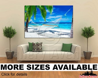 Wall Art Giclee Canvas Picture Print Gallery Wrap Ready to Hang - Hammock Palm Trees Tropical Beach - 60x40 48x32 36x24 24x16 18x12 3.2