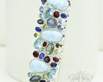 The real Good Stuff! Genuine Ocean Blue LARIMAR Multi-Stone 925 S0LID Sterling Silver Bracelet & FREE Worldwide Express Shipping B1715