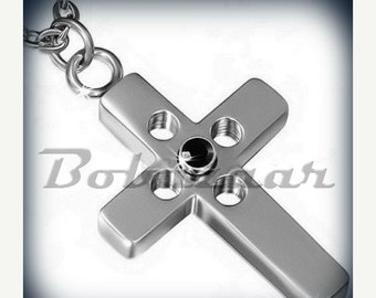 ON SALE Stainless Steel Cross Pendant Necklace with Black CZ