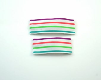 Neon Stripe Clips. Toddler Barrettes. Neon Toddler Clips. Neon Barrettes. Neon Hair Clips. Neon Baby Clips. Striped Snap Clips.