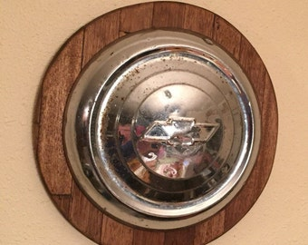 Chevrolet hubcap Wall Hanging, Mancave Wall Hanging, Vintage Hubcap, Chevy