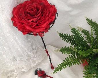 Silk Red Glamelia bouquet- Red Gothic Bridal Bouquet, Bridal Scepter, Red and Black Bridal Bouquet, Glamelia Wedding Bouquet