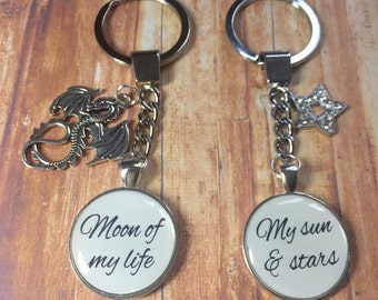 Moon of my life, my sun & stars, game of thrones, Daenerys Targaryen, keyring keychain, set of 2 keyrings, Khal Drogo