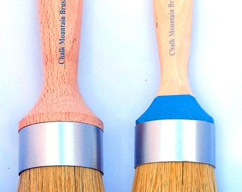 Chalk Furniture Paint Brushes/w Natural Boar Bristles 1st Brush a Large Wax Brush or Wall Stencil Brush, 2nd Brush a Medium Size Paint Brush