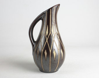 Vintage Piesche & Reif ceramic vase with sgraffito pattern  - East German Pottery, 50s