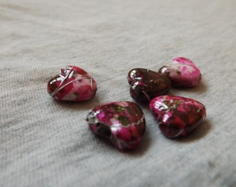 Textured pink/green heart beads