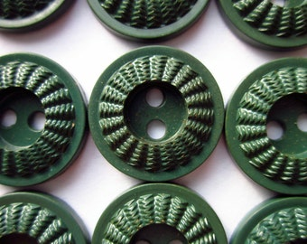 "Vintage Plastic Buttons, 12 Dark Olive Green, Ridged Rim, 5/8"""