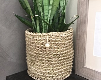 Jute and Gold Metallic Thread Pot Plant Pouch