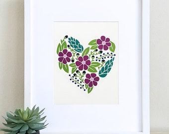 Floral Heart Papercut