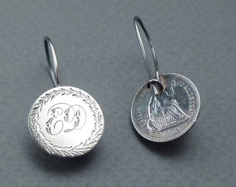 """Love token earrings 1853 and 1862 coins initials """"ED"""""""
