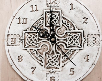 Handmade Ceramic clock, round celtic cross  design.