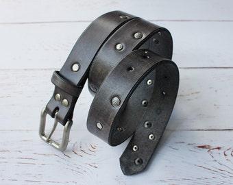 "Women's Grey Studded Leather Belt 1"" 1/4"