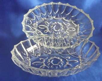 Pair of Pressed Oval Glass Dishes/Bowls