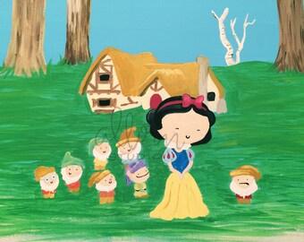 Snow White Art Print-- Disney Fan Art, Dorm Decor, Home Decor, Nursery, Kid's Room, Kawaii, Seven Dwarves