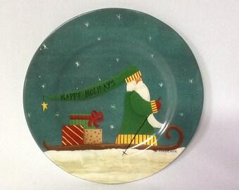 Sakura Fiddlestix Christmas Winter Journey Folk Art Santa Salad / Dessert Plate