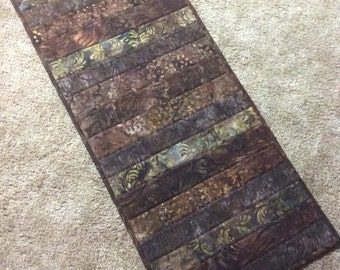 Brown table runner, batik table runner, brown batik table runner, quilted table runner