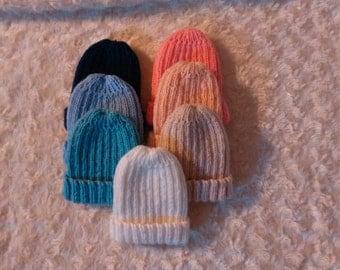 100% Merino Hand Knitted Beanies-Newborn
