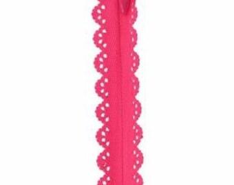 Fuchsia Lace Zipper 9 inch