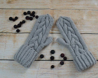 Hand knitted mittens, hand knitted gloves, grey cable knit mittens, chunky mittens, winter accessories, knitted hand warmers, grey mittens
