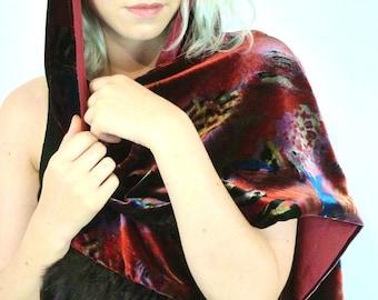 Divine Vintage Silky Velvet Jewel Coloured Feather Trim Scarf Wrap