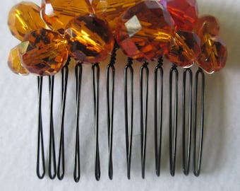 Orange  faceted bead hair comb wedding prom party